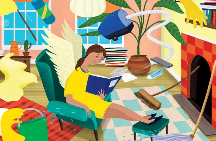 Cleaning supplies swirl around an angel reading; Illustration by Anne Wilson
