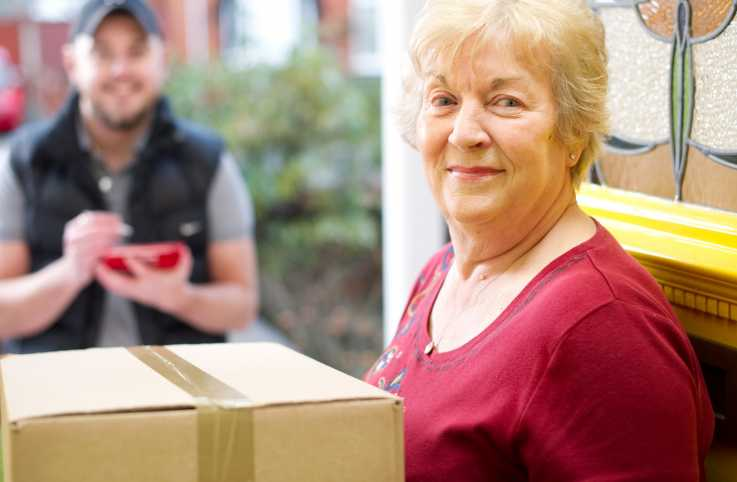 A delivery man conversing with a senior woman.