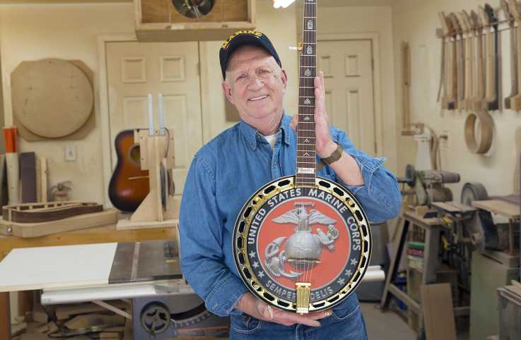 Don Embrey in his woodworking shed and banjo studio; photo by Heather Rousseau