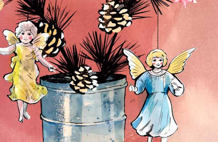 Angel ornaments hung on a pinecone miniature tree; Illustration by Gisela Goppel