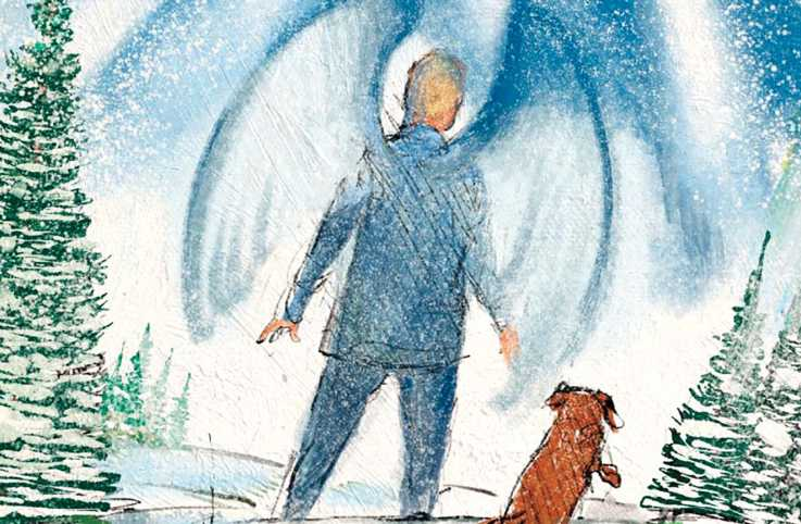 An illustration of an angel and a dog; Illustration by Mickey Paraskevas