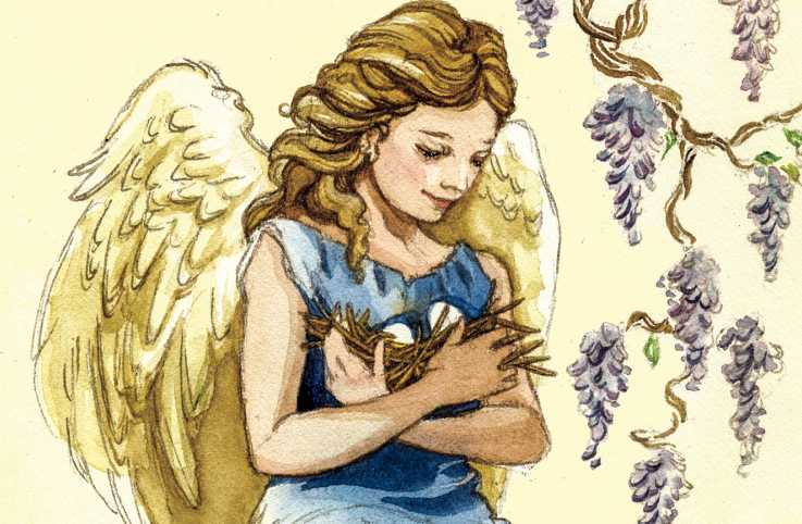 An angel holding a nest of eggs. Illustration by Daniela Terrazini