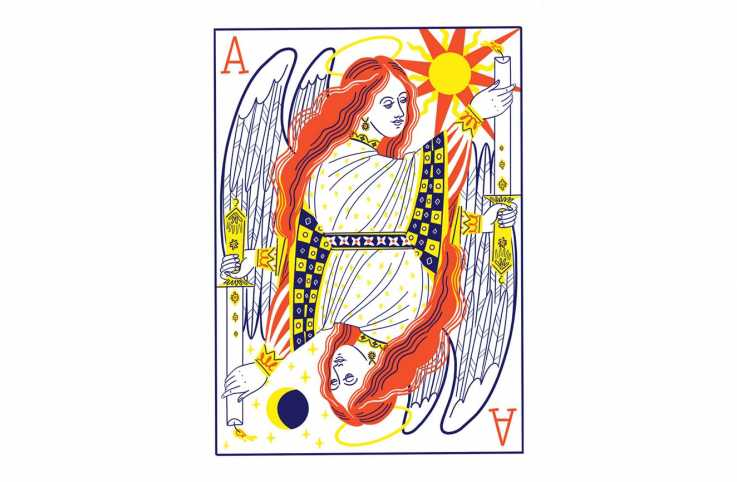 An illustration of an angel on a playing card; Illustration by Salini Perera