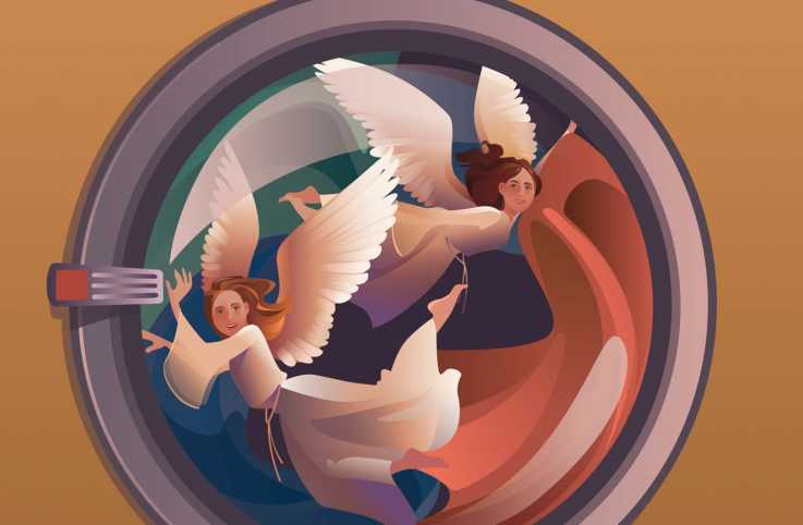 An illustration of angels in the washing machine; Illustration by Kim Johnson