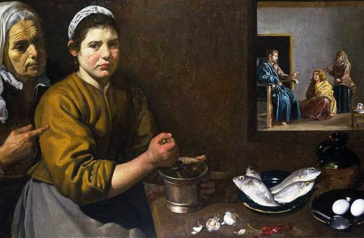 'Kitchen scene with Christ in the house of Martha and Mary', Velázquez,