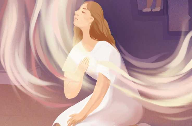 An illustration of a sitting angel; Illustration by Nicole Xu