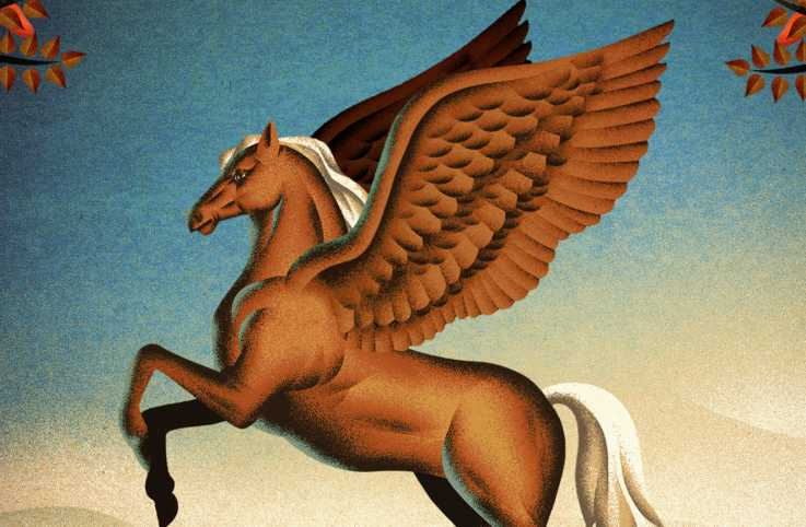 A golden palomino Pegasus. Illustration by JESÚS SOTÉS