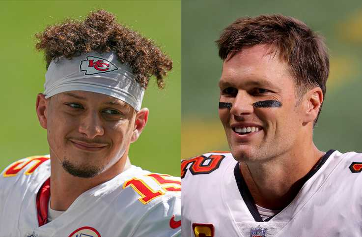 Patrick Mahomes: Photo by Mark Brown/Getty Images; Tom Brady: Photo by Kevin C. Cox/Getty Images