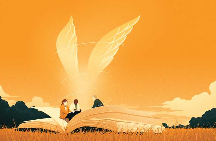 An illustration of three people conversing in a book with wings; Illustration by Eric Chow