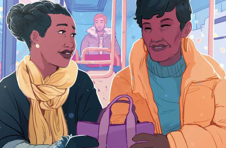 An illustration of two women on a bus; Illustration by Ricardo Bessa