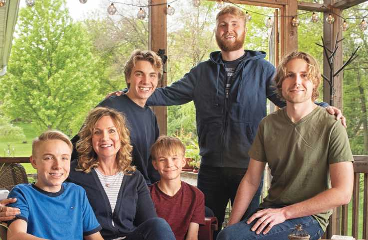 Shawnelle with her sons (from left), Gabriel, Samuel, Isaiah, Grant and Logan