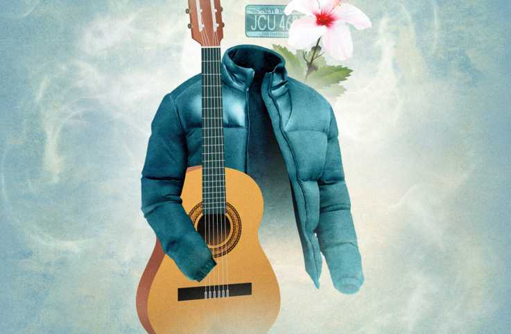 An illustration of a jack, guitar, hibiscus flower, and license plate; Illustration by Stuart Briers