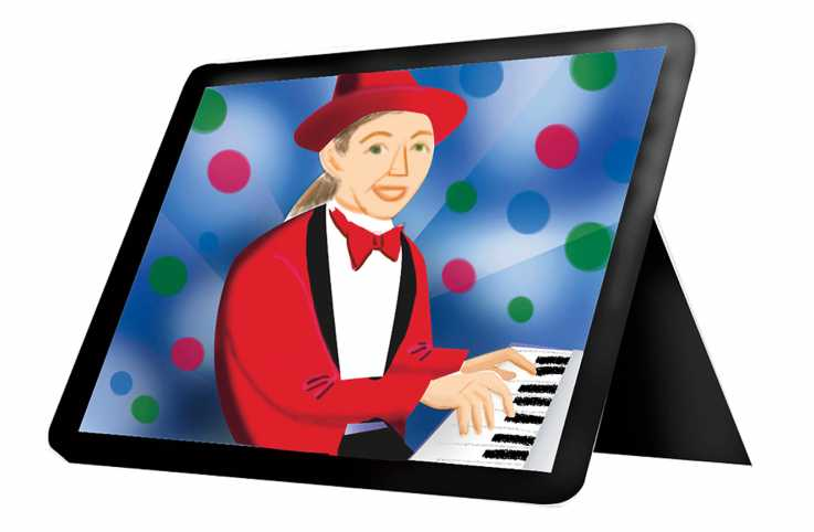 A tablet displaying a piano player; Illustration by Coco Masuda