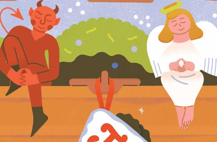 An illustration of an angel and devil beside a stocking; Illustration by Sophia Foster-Dimino