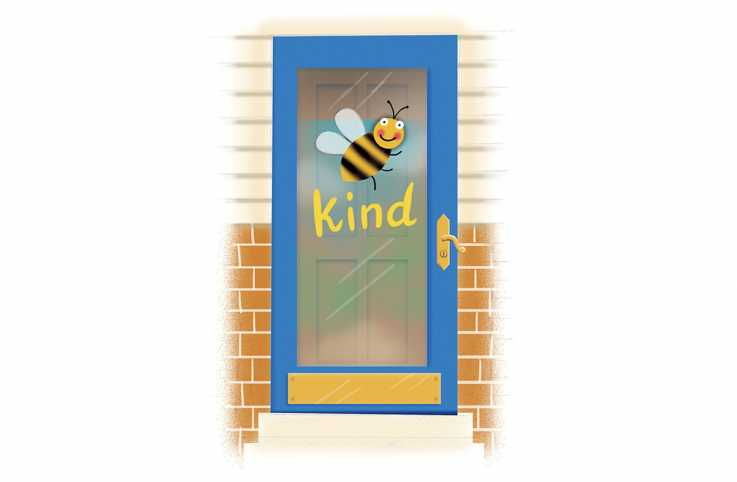 "An artists rendering of a decorated door with a bee and ""kind"" written."