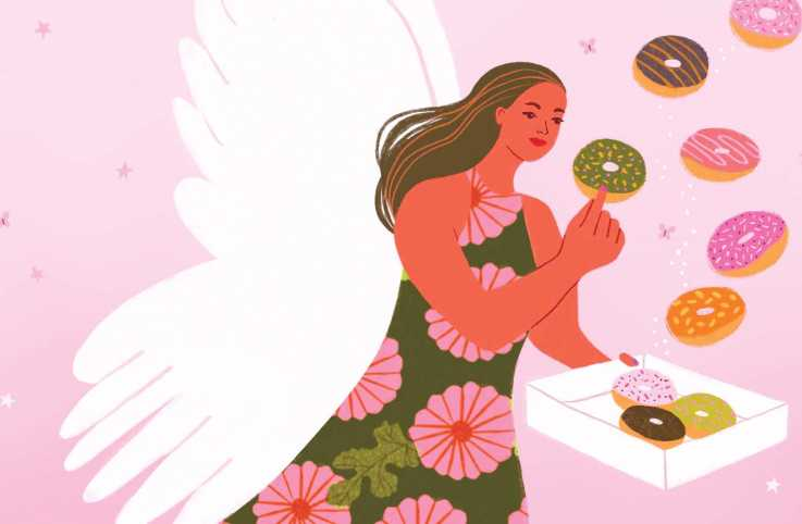 An illustration of an angel carrying a box of donuts; Illustration by Aura Lewis
