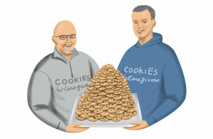 An illustration of two frontline workers holding a tray of cookies; Illustration by Coco Masuda