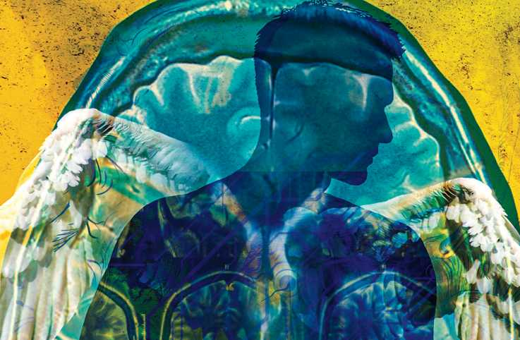 An artist's rendering of an angel and a brain xray; Illustration by Eva Tatcheva