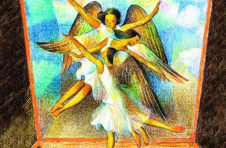 Illustration of angels in a music box