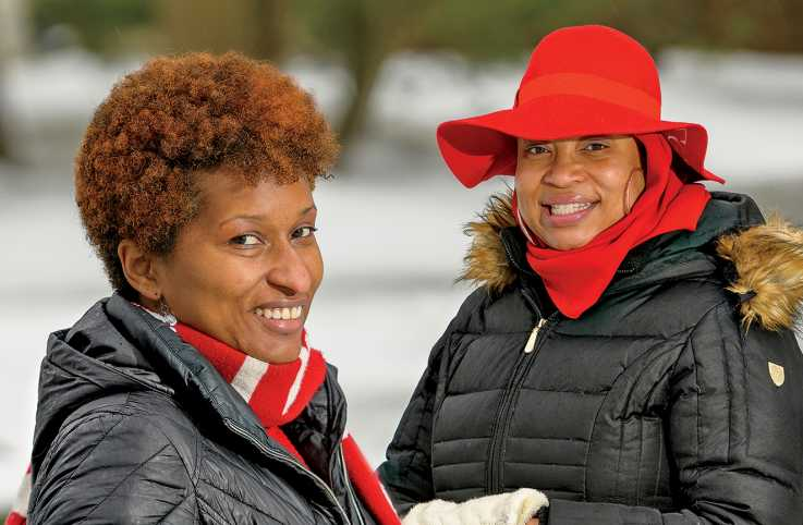 Tonya Avent (left) with her friend, Ma'isha; photo by Jim Graham