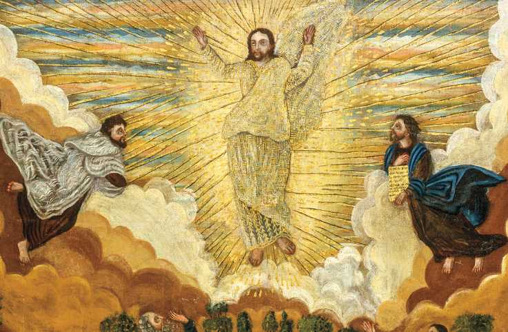 An artist's depiction of Jesus and the Transfiguration; Photo credit: Schalkwijk/Art Resource