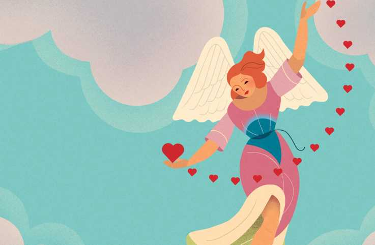 An artist's rendering of an angel holding hearts; Illustration by Orlando Hoetzel