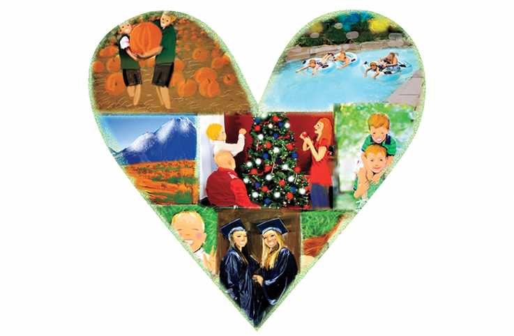 An illustration of a photo collage in the shape of a heart.