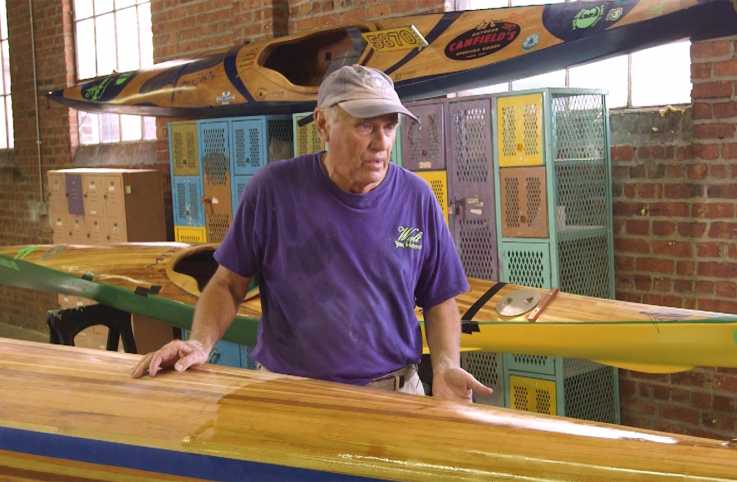 Walt Vosicka in his kayak workshop