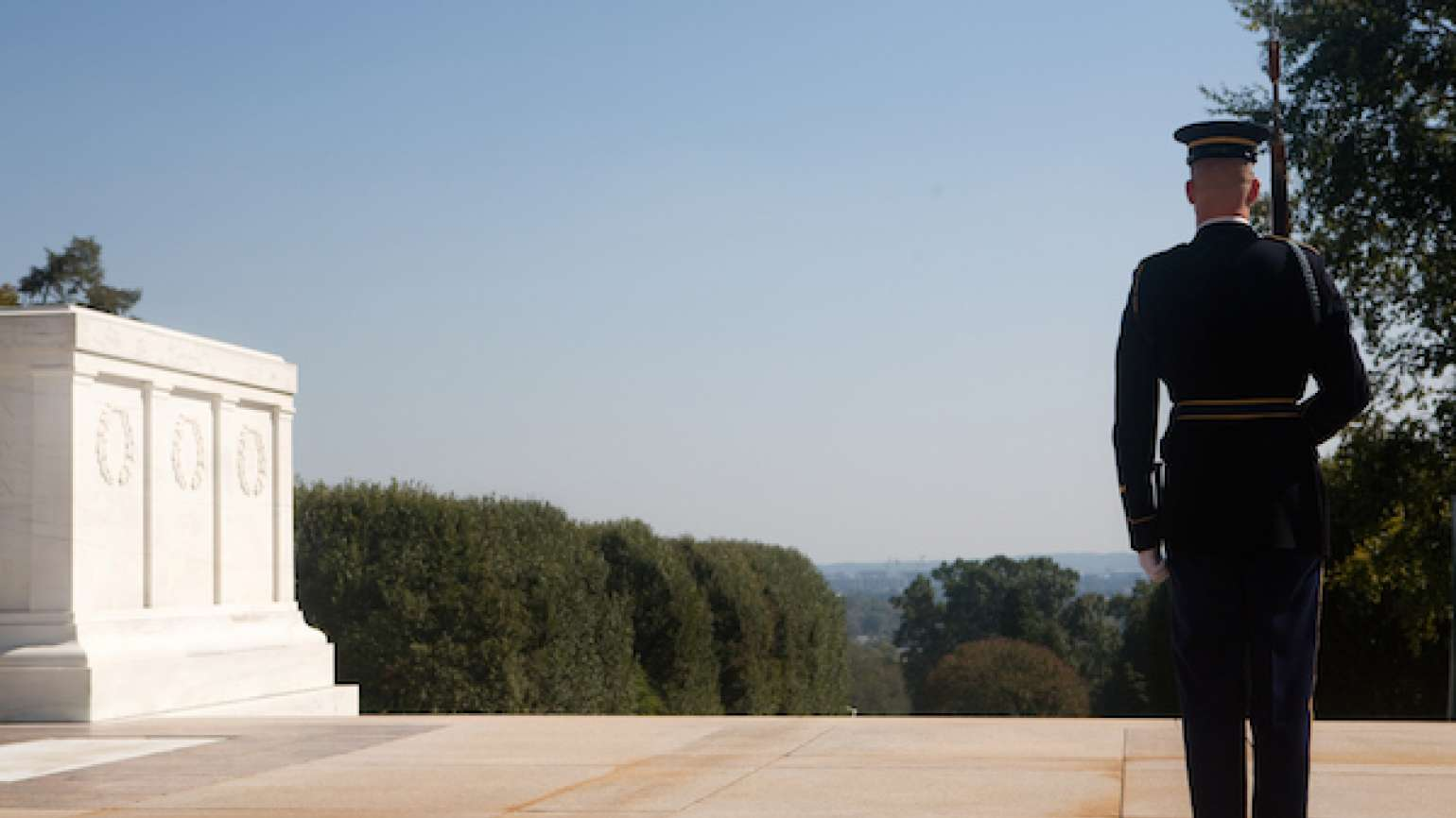 The Tomb of the Unknown Soldier at Arlington National Cemetery.