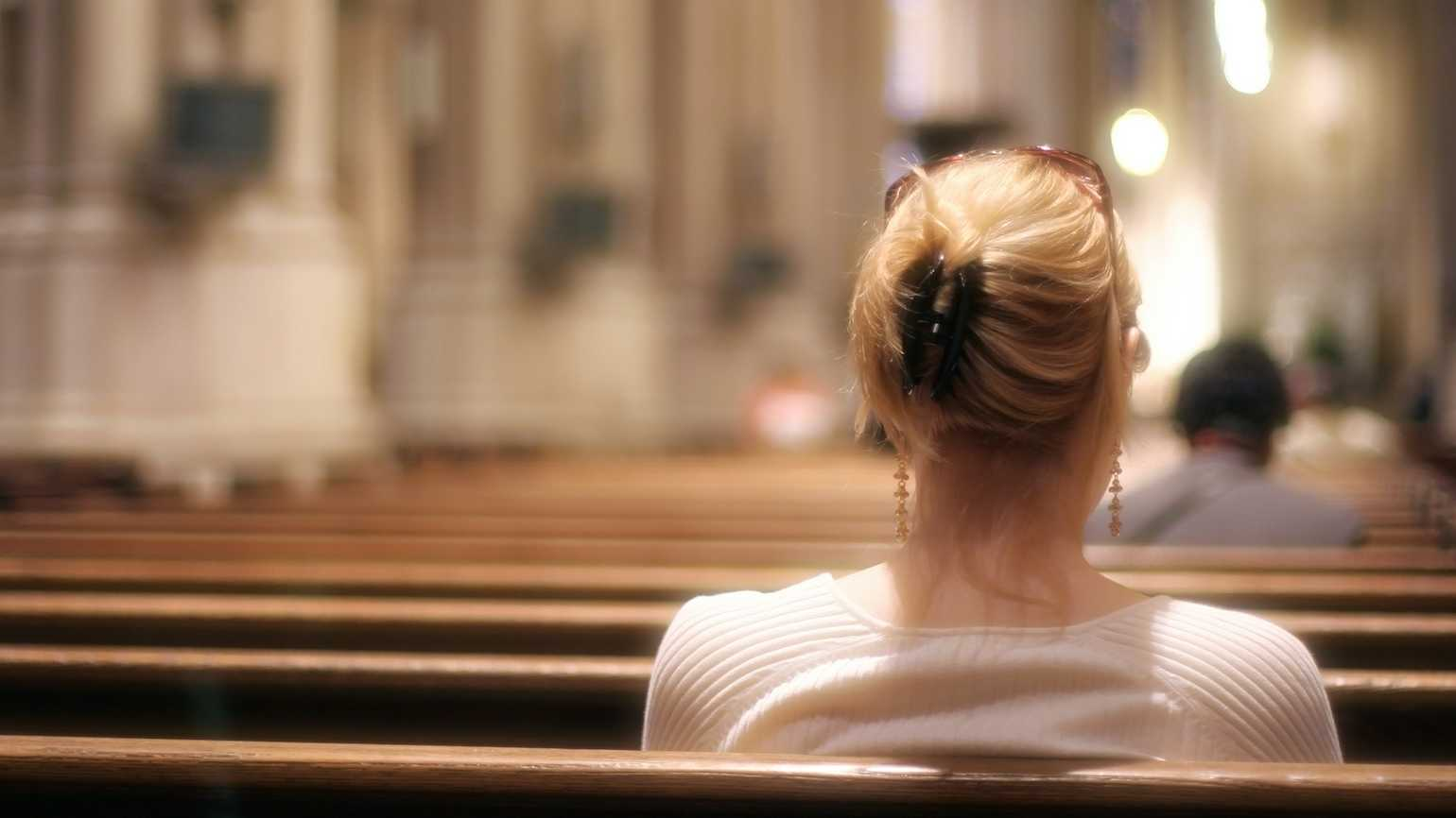 Woman in church