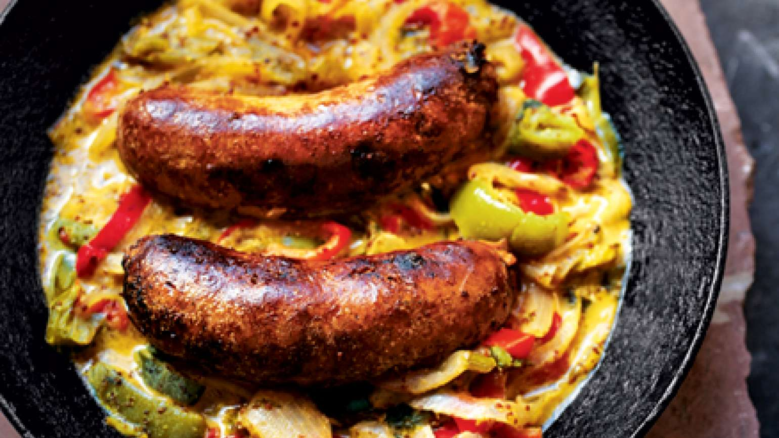 Braised Sausage with Chiles
