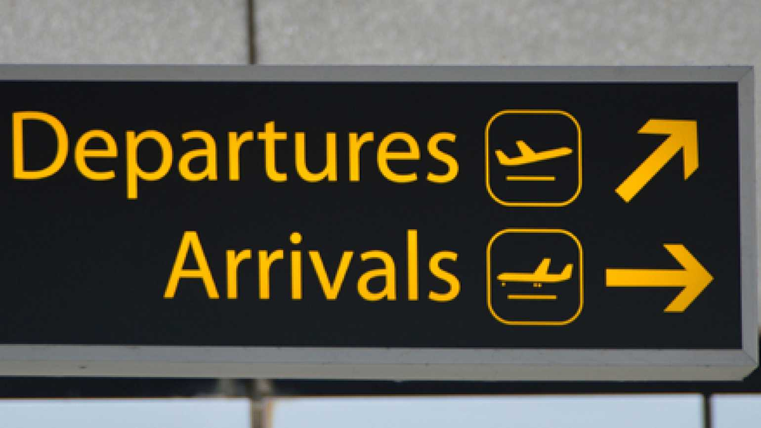 Airport Departures-Arrivals sign
