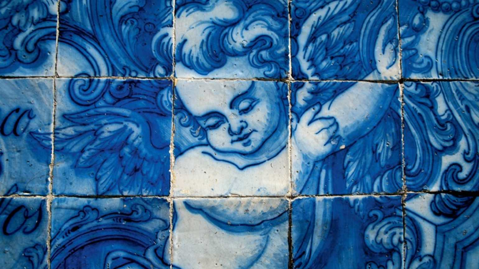 A blue and white tile angel from Portugal