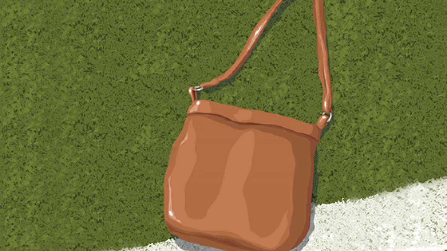 An artist's rendering of a lost purse on a football field