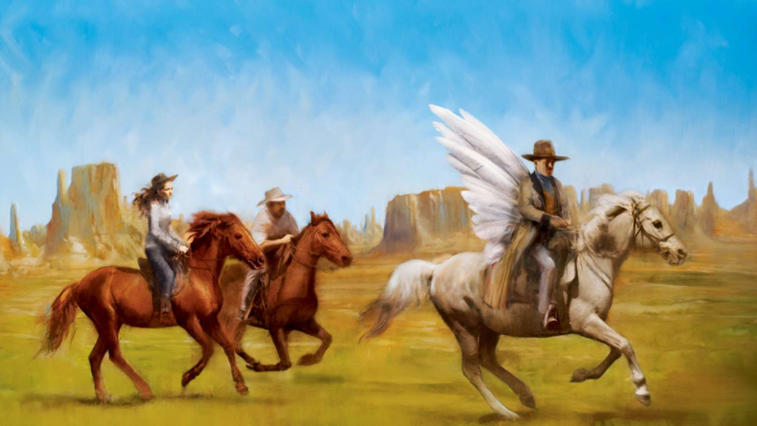 An artist's rendering of Erika and an angelic cowboy on horseback