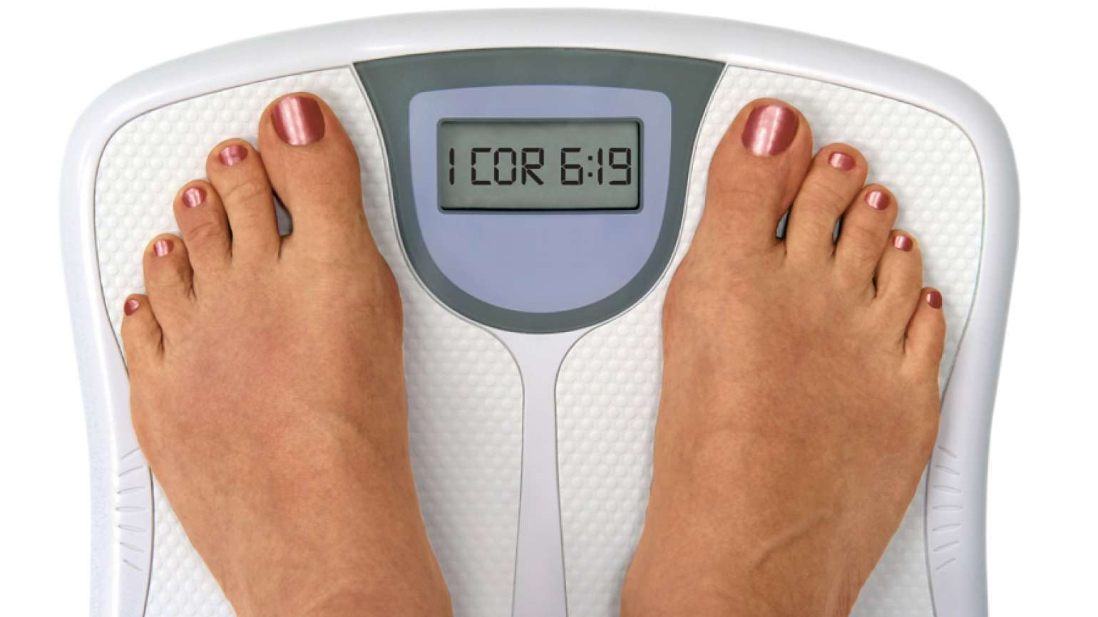 Feet on a scale that reads 1 Cor. 6:19