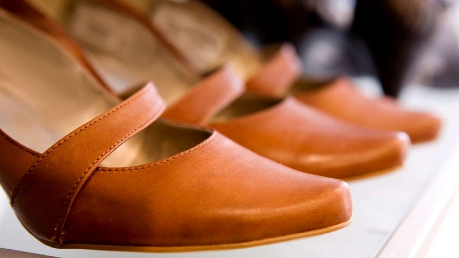 Close-up of a pair of brown shoes