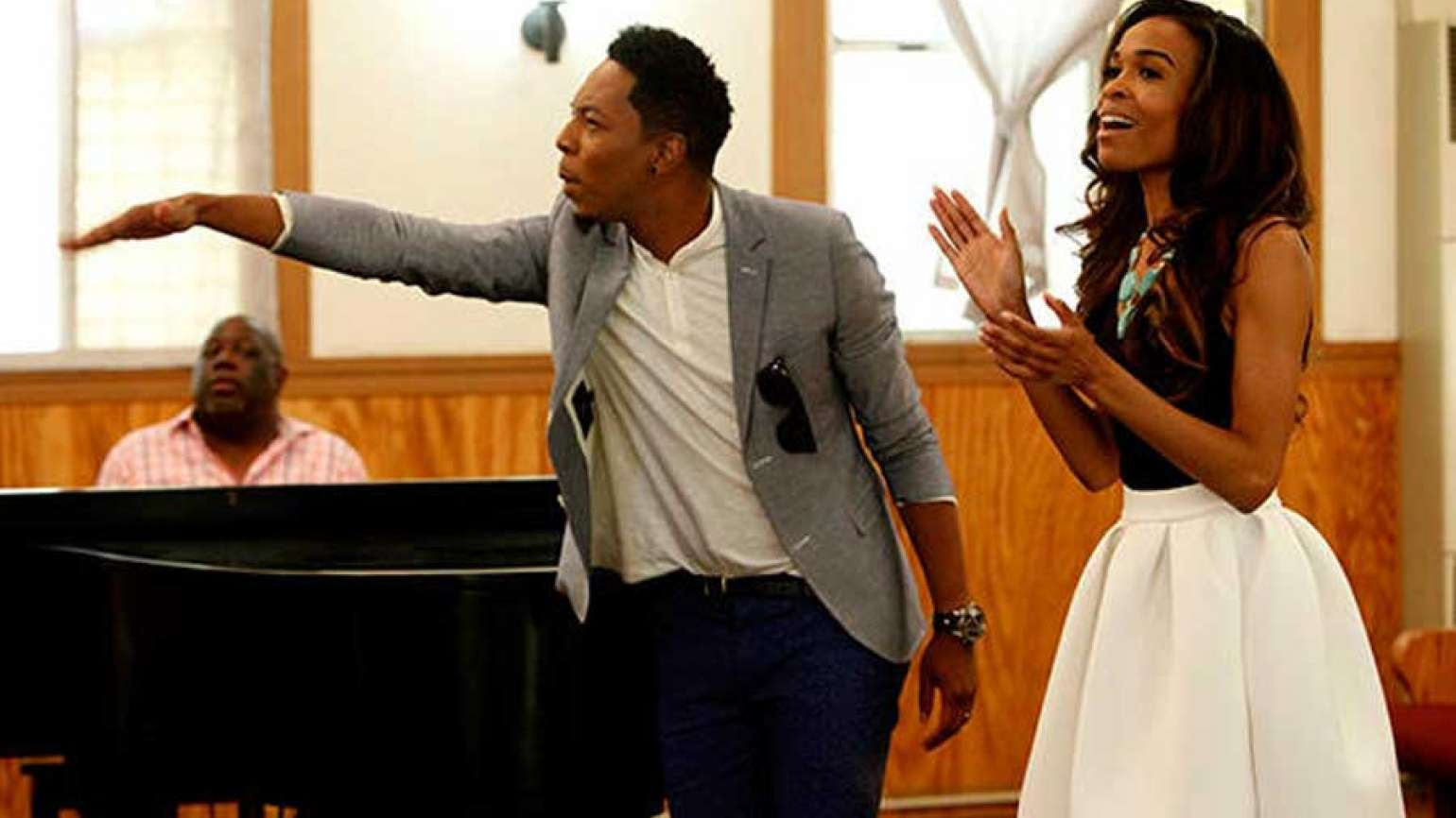 Deitrick Haddon and Michelle Williams on an episode of their show Fix My Choir