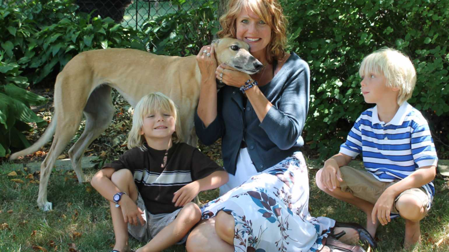 Shawnelle, her sons and her dog