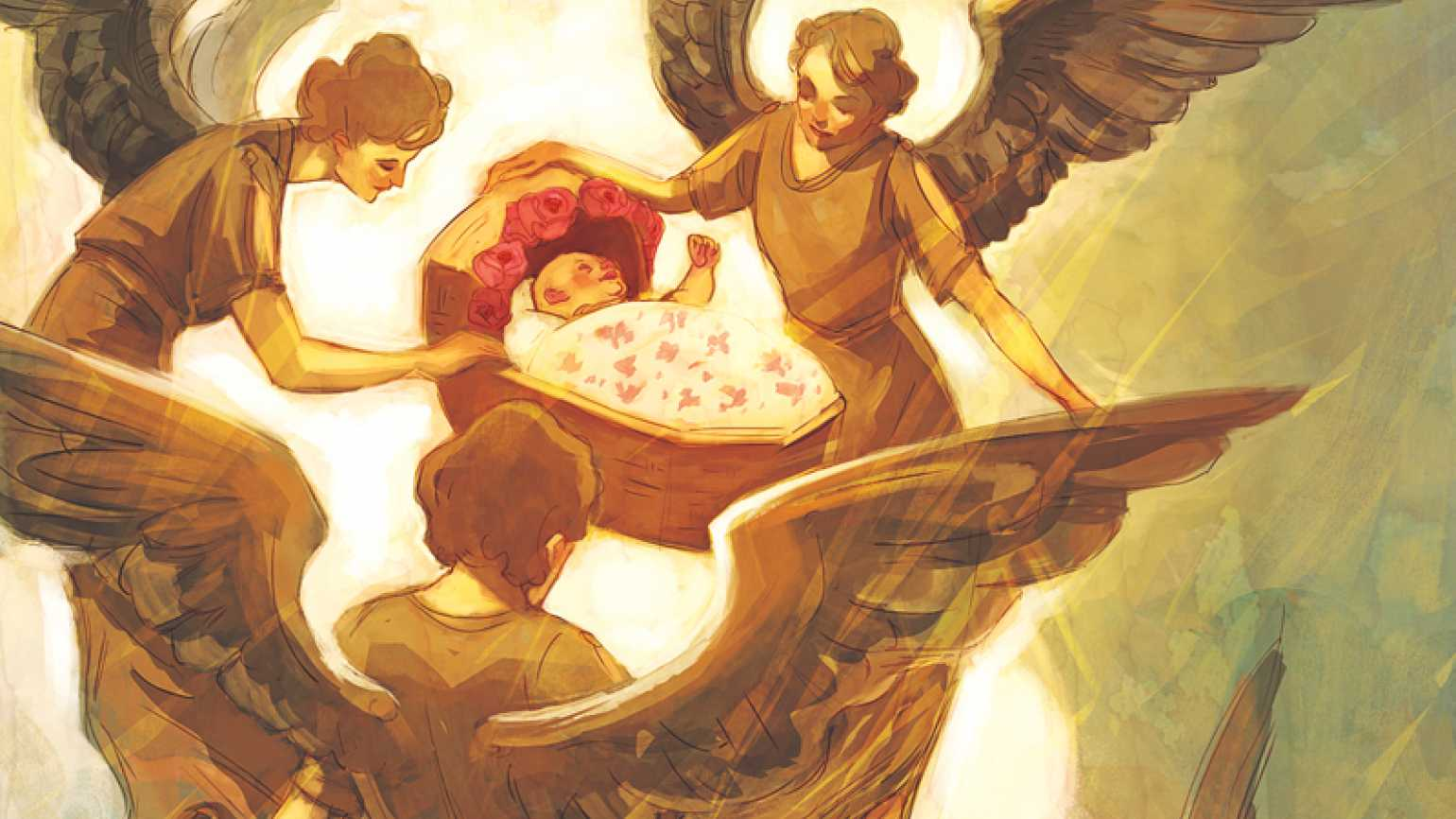 An artist's rendering of a trio of a winged angels carrying a baby in a cradle.