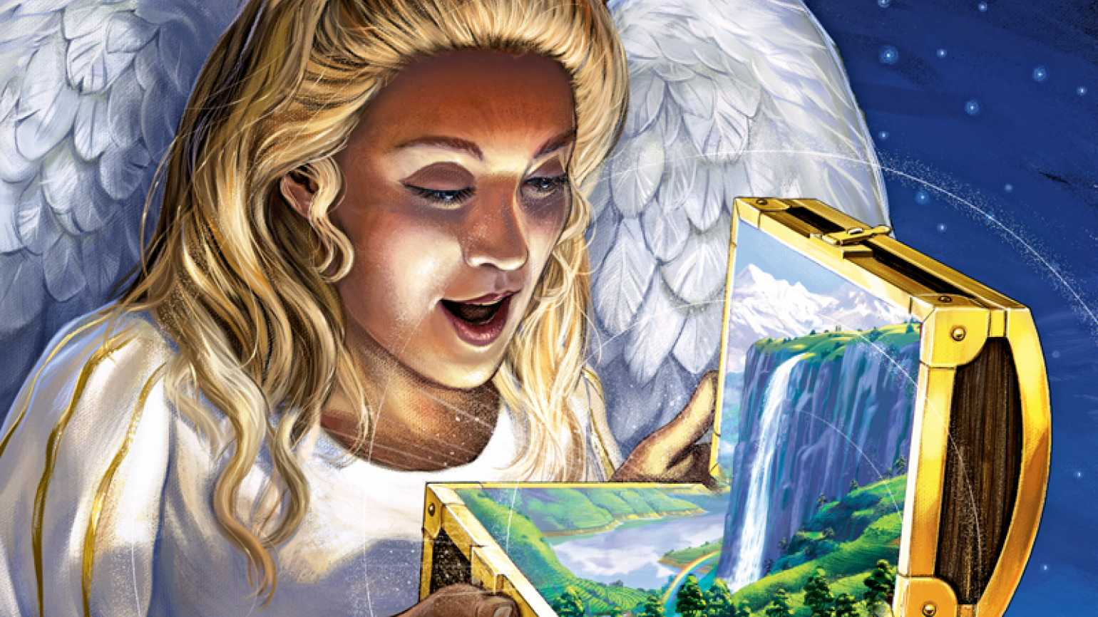 An angel is delighted by opening a small treasure chest that holds a waterfall.