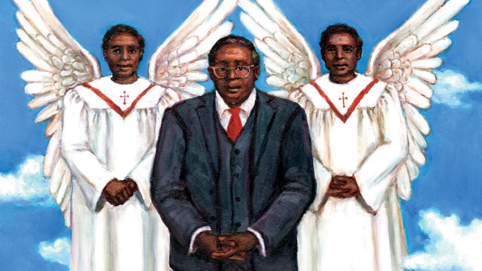 An artist's rendering of Janis' father accompanied by a pair of winged angels