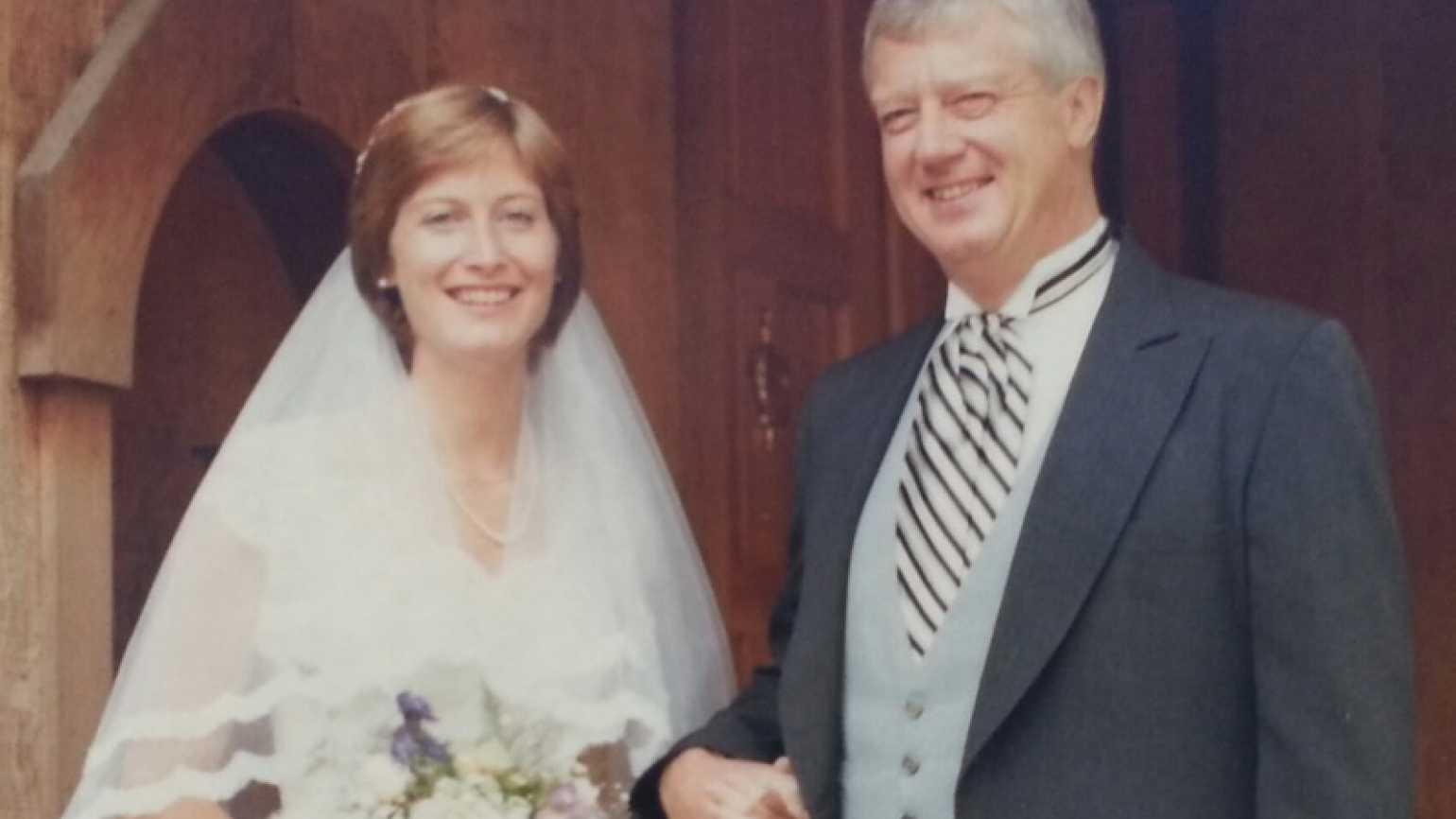 """""""Miracle Chaser"""" Katie Mahon with her father on her wedding day"""