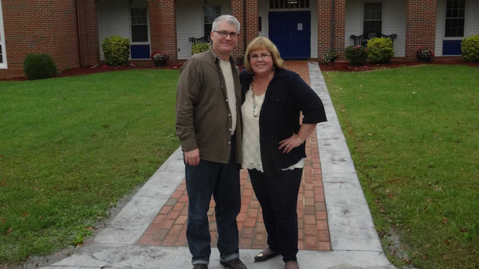 Michelle Cox with Robert Day, director of Patrick Henry Family Services.