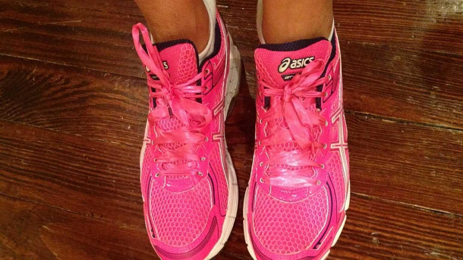Michelle's bright pink work-out shoes