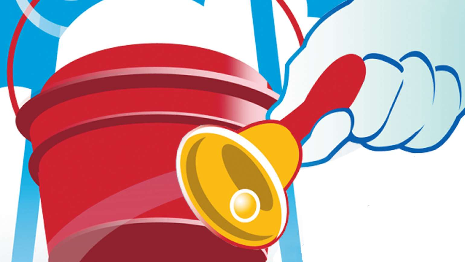 An artist's rendering of a gloved hand ringing a golden bell by a red pail