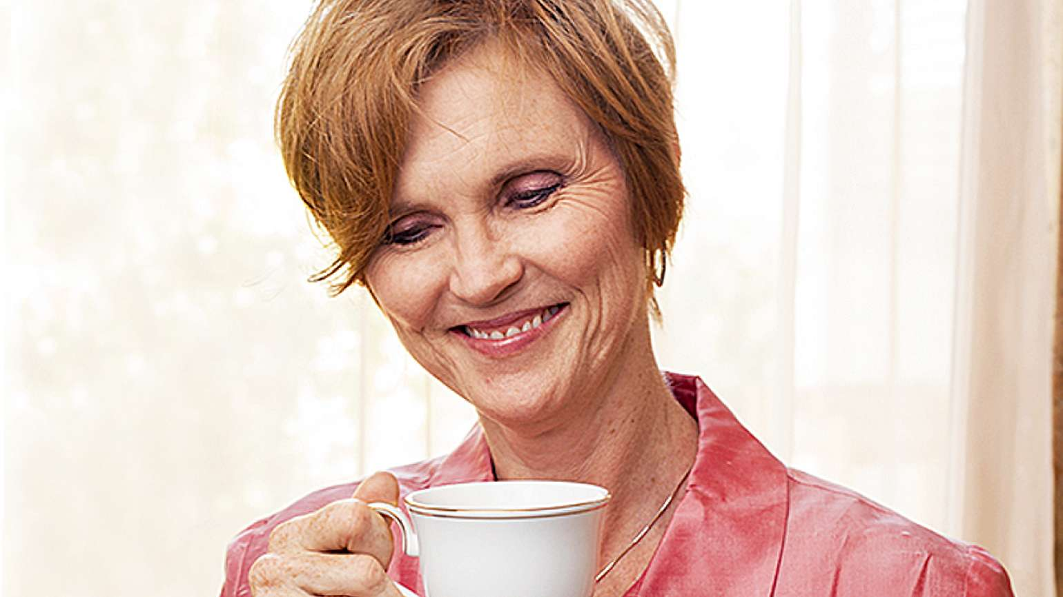 Shannon Gurley O'Donnell enjoys a cup of tea.