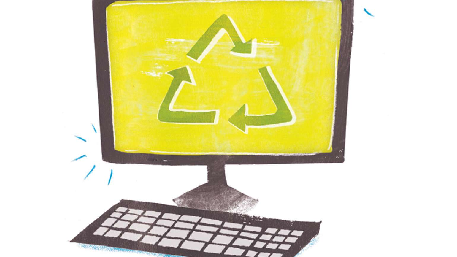An artist's rendering of a computer with a recycling logo on its monitor screen