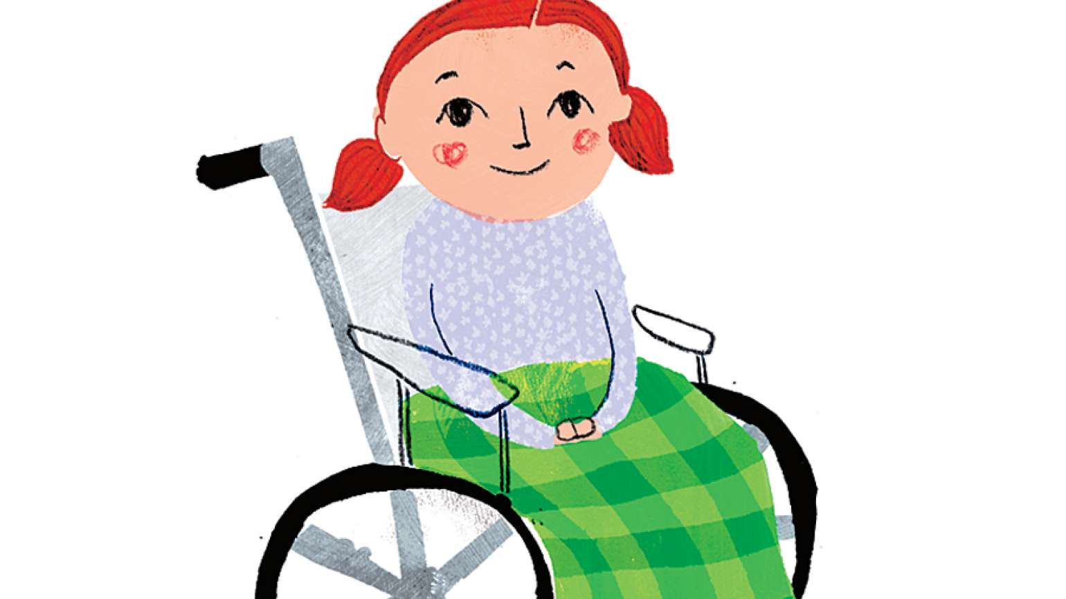 A pig-tailed girl in a wheelchair with a fleeve blanket covering her lap