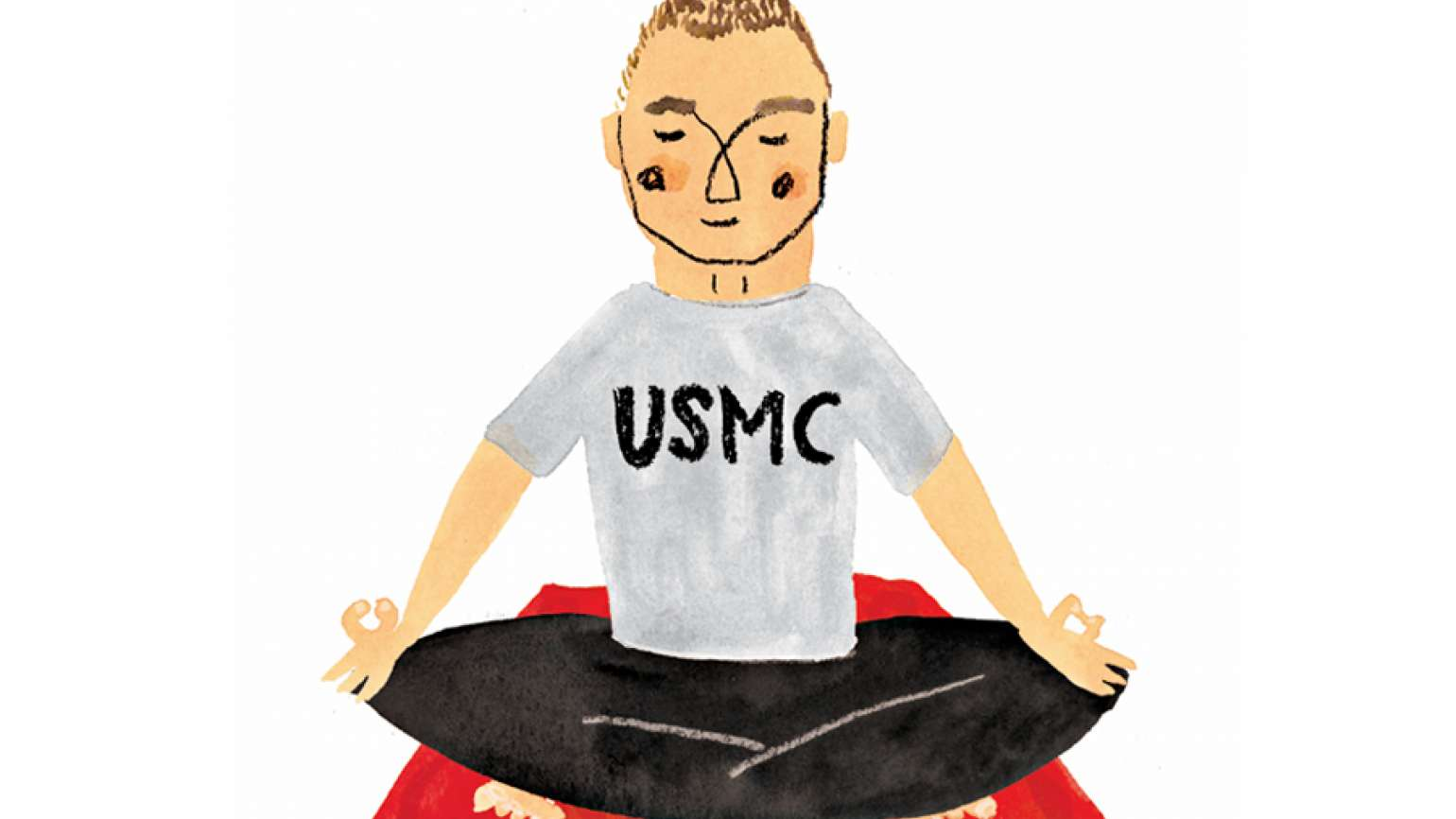 An artist's rendering of a Marine in a lotus position